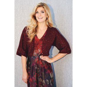 Burgundy women's knitted shrug with sequins
