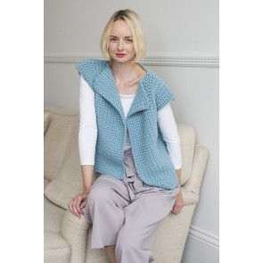 Ladies' sleeveless knitted waistcoat with collar