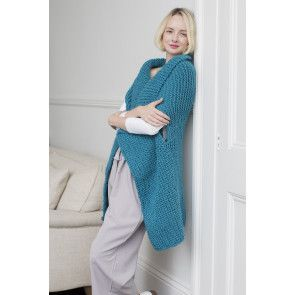 Teal knitted waterfall-style waistcoat for women