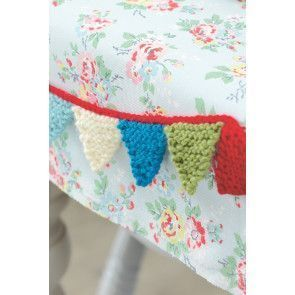 Knitted mini baby bunting with pretty little pennants