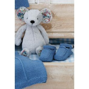 Knitted denim baby shoes/booties for a girl or boy
