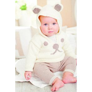 Knitted baby jumper with bear ears