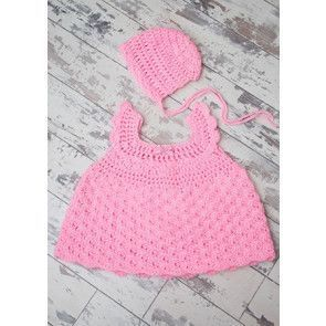 Scallop Dress and Bonnet in Cygnet Baby Pato DK (CY1224)