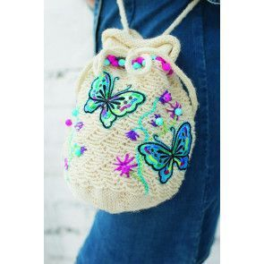 Small knitted drawstring bag with butterflies