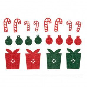 Trimits Buttons - Mixed Size, Christmas Presents and Candy Canes, Assortment
