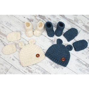 New Born Baby Bear Crochet Set in Cygnet Aran (CY1250)