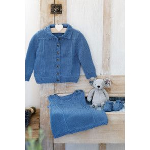 Baby Girls Denim Jacket, Dress & Shoe Set Knitting Pattern
