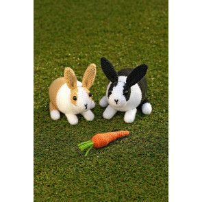 cute amigurami crochet dutch rabbits with a carrot