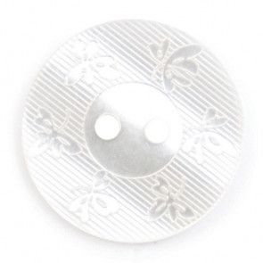 Size 17mm, 2 Hole, Flower Effect, White, Pack of 3