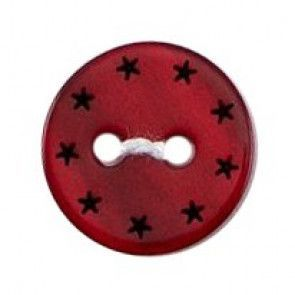 Size 12mm, 2 Hole, Little Stars, Red, Pack of 5