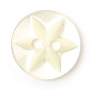 Size 12mm, 2 Hole, Flower Pattern, Pearl Cream, Pack of 7