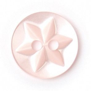 Size 12mm, 2 Hole, Star Pattern, Pearl Pink, Pack of 7
