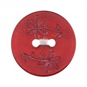 Size 17mm, 2 Hole, Printed Flowers, Red, Pack of 3
