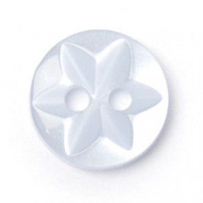 Size 10mm, 2 Hole, Star Pattern, Pearl Blue, Pack of 8