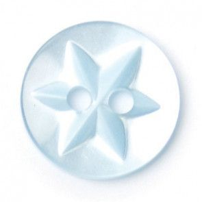 Size 12mm, 2 Hole, Star Pattern, Pearl Blue, Pack of 7