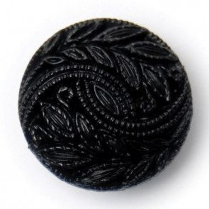 Size 15mm, Leaf Swirl Pattern, Black, Pack of 4