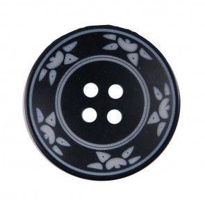 Size 25mm, 4 Hole, Sun Pattern, Black, Pack of 2