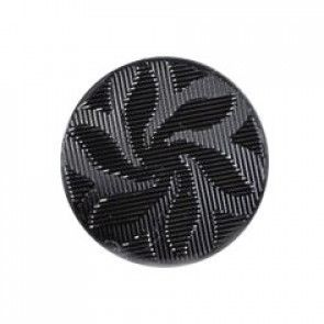 Size 12mm, Flower Swirl Effect, Black, Pack of 4
