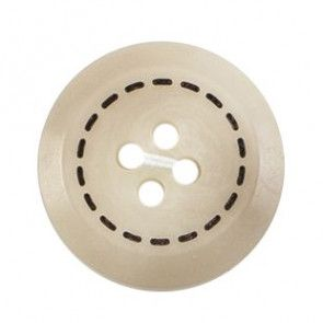 Size 20mm, 4 Hole, Circular Stitch Effect, Pearl Cream, Pack of 2