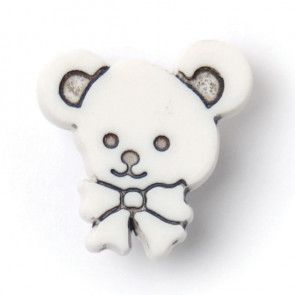 Size 15mm, Shank, Teddy Bear, White, Pack of 4