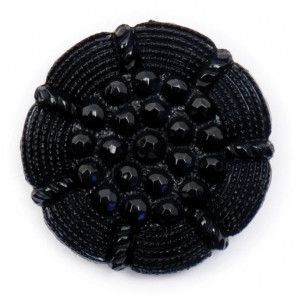 Size 22mm, Flower Pattern, Black, Pack of 2