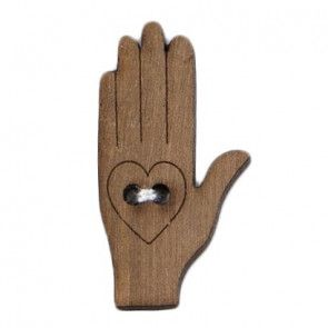 Size 30mm, 2 Hole, Hand Shaped, Wood Effect, Brown, Pack of 1