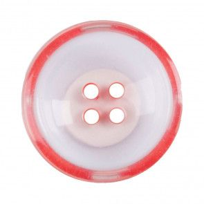 Size 22mm, 4 Hole, Clear/Red, Pack of 2