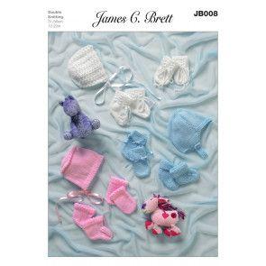 Helmet, Bonnets, Mittens and Bootees in James C. Brett DK (JB008)