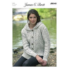 Hooded Jacket in James C. Brett Aran (JB045)