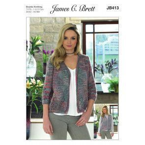 Cardigan and Waistcoat in James C. Brett Stonewash DK (JB413)