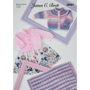 Cardigans and Blanket in James C Brett Baby Twinkle Prints DK and Baby DK (JB681)