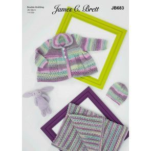 Coat, Hat and Blanket in James C Brett Baby Twinkle Prints DK (JB683)