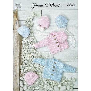 Jacket, Hat, Bonnet and Helmets in James C Brett Baby Velvet Chunky (JB694)