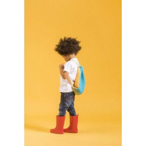 child with knitted drawstring rucksack