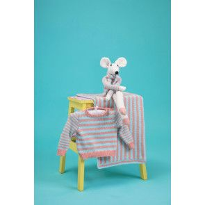 Stripy baby set of jumper, blanket and mouse toy knitting pattern