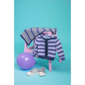 Striped hooded zip up jacket and matching blanket knitting pattern