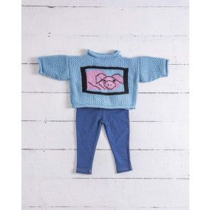 Cute Pig Motif Sweater Knitting Pattern