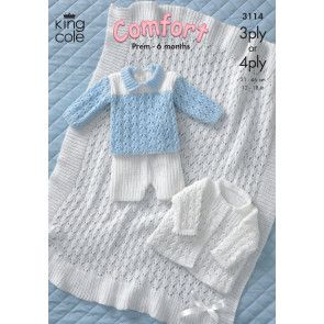 Jacket, Shawl, Sweater and Shorts in King Cole Comfort 3 Ply and Comfort 4 Ply (3114)
