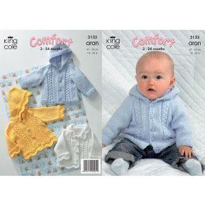 Jackets in King Cole Comfort Aran (3133)