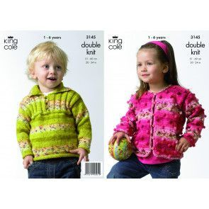 Girl's Cardigan and Boy's Sweater in King Cole Splash DK (3145)