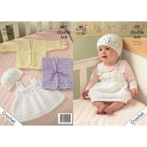 Cardigan, Waistcoat, Pinafore Dress and Hat in King Cole Comfort Baby DK (3251)