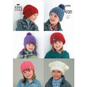 Hats in King Cole Comfort Aran (3390)