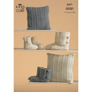Slippers and Cushions in King Cole Fashion Aran (3471)
