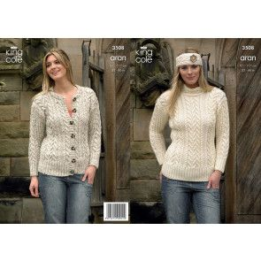Sweater, Cardigan and Headband in in King Cole Fashion Aran (3508)