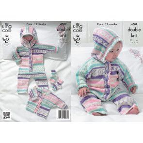 All-in-One, Jacket and Socks in King Cole Cherish DK (4009)