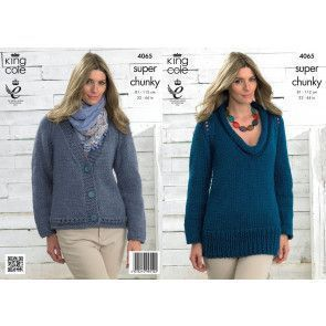 Sweater and Cardigan in King Cole Big Value Super Chunky (4065)