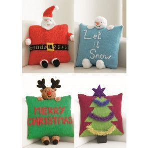 Christmas Novelty Cushions in King Cole DK and Chunky (4111)