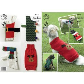 Christmas Dog Coats in King Cole Cuddles DK and King Cole Merino Blend DK (4115)