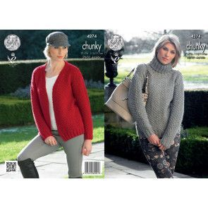 Sweater and Cardigan in King Cole New Magnum Chunky (4274)