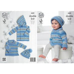 Sweater, Jacket and Hat in King Cole Drifter for Baby DK and Cottonsoft DK (4309)